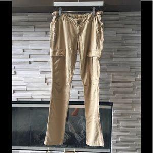 Da-nang tan and metallic gold pants